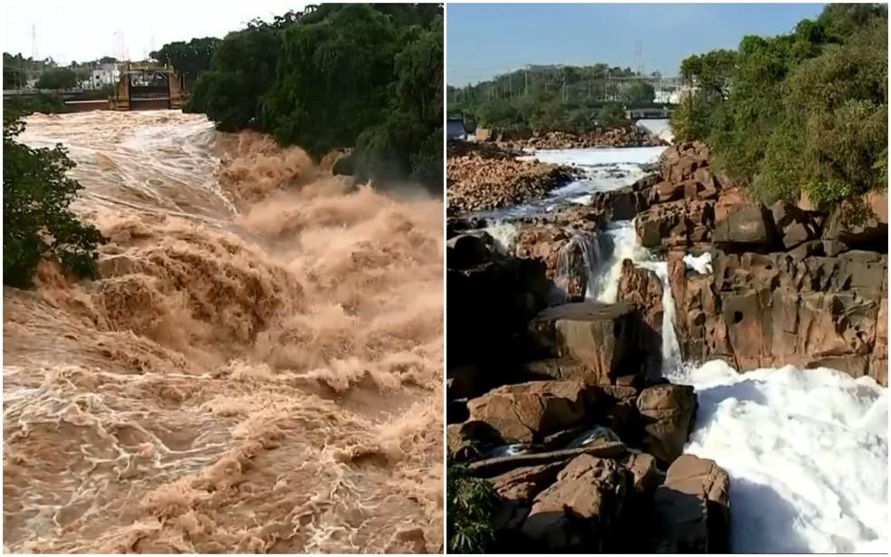 À esquerda, Rio Tietê em Salto após o temporal na madrugada de segunda-feira (10); à direita, o registro do rio em agosto de 2019 — Foto: Reprodução
