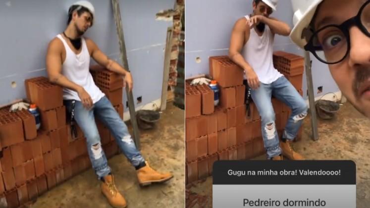 Fábio Porchat e João Vicente de Castro se divertem em obra (Foto: Reprodução/Instagram @fabioporchat e @joaovicente27)