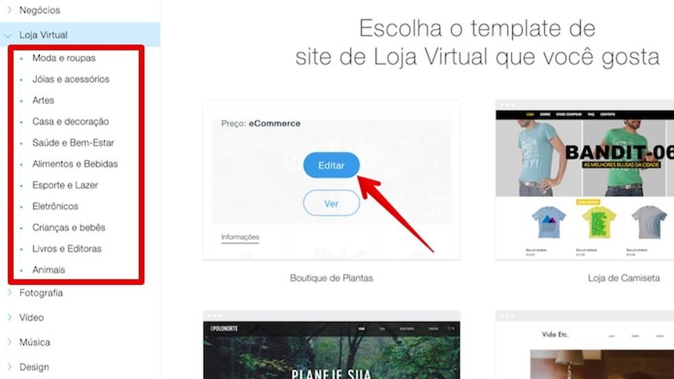 Serviços como o Wix permitem criar site e loja virtual facilmente — Foto: Reprodução/Helito Beggiora