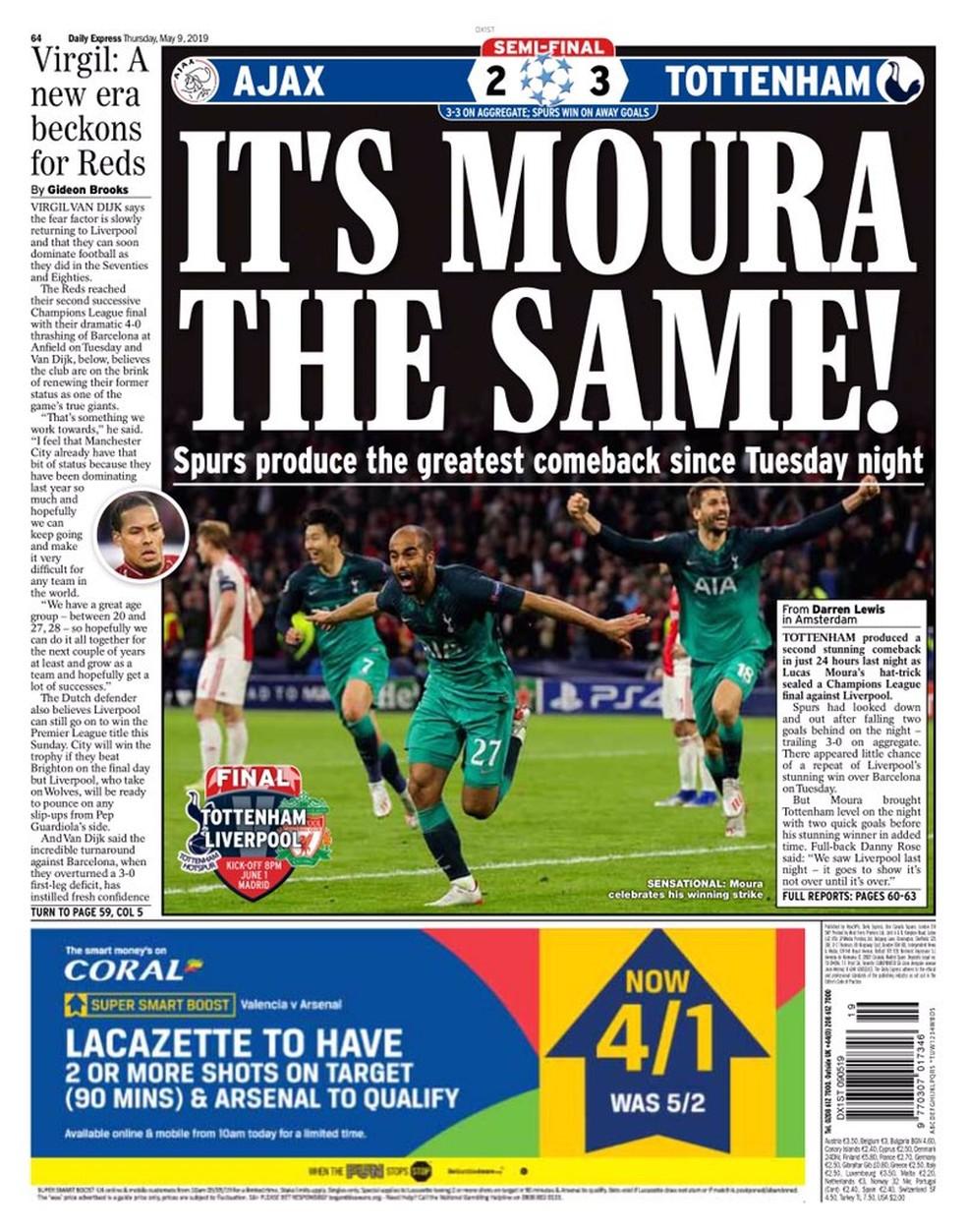 """Daily Express também faz referência à virada do Liverpool: """"Spurs produzem a maior virada desde a noite de terça"""" — Foto: Reprodução/Daily Express"""