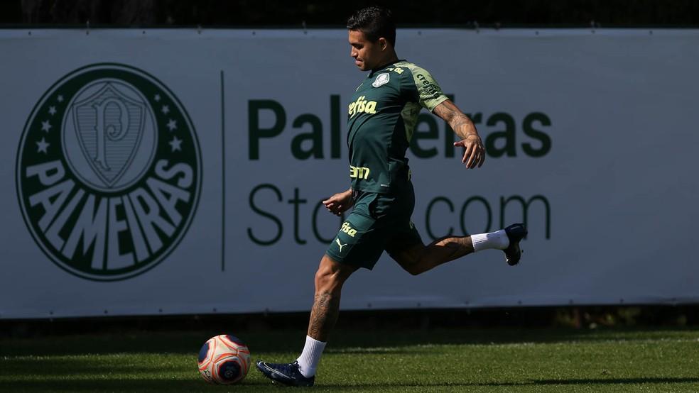 Dudu, durante trabalho com bola na Academia de Futebol do Palmeiras — Foto: Cesar Greco/Ag. Palmeiras