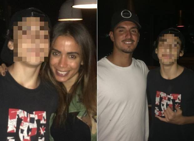 Fã faz selfie com Anitta e Gabriel Medina em restaurante de SP (Foto: Reprodução/Fofocalizando)