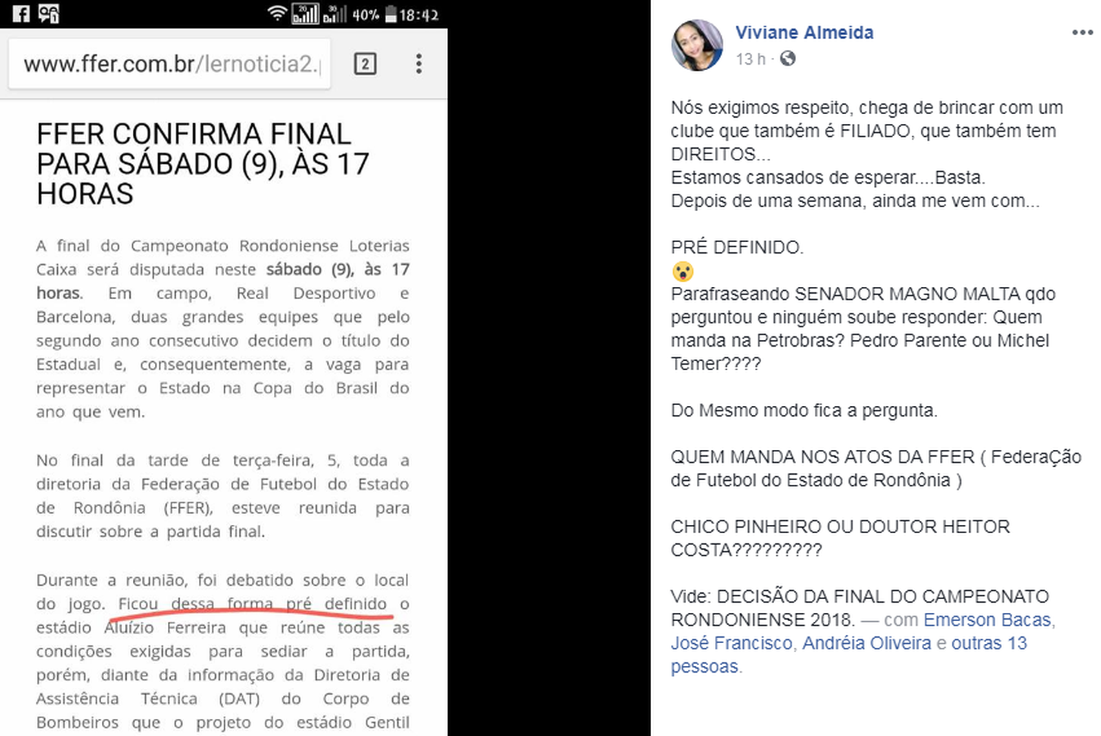 Viviane do Barcelona faz desabafo na rede social, jogando FederaçÃģo contra presidente do Real Ariquemes (Foto: Facebook / ReproduçÃģo)