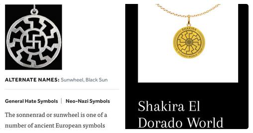 A comparação entre o colar vendido por Shakira e o símbolo nazista (Foto: Twitter)