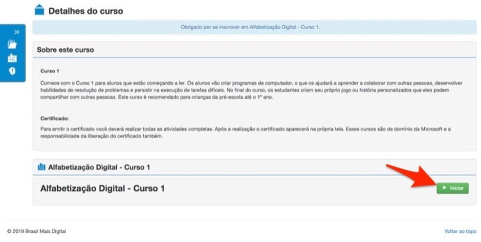 Ação para iniciar um curso no site Brasil Mais TI — Foto: Reprodução/Marvin Costa