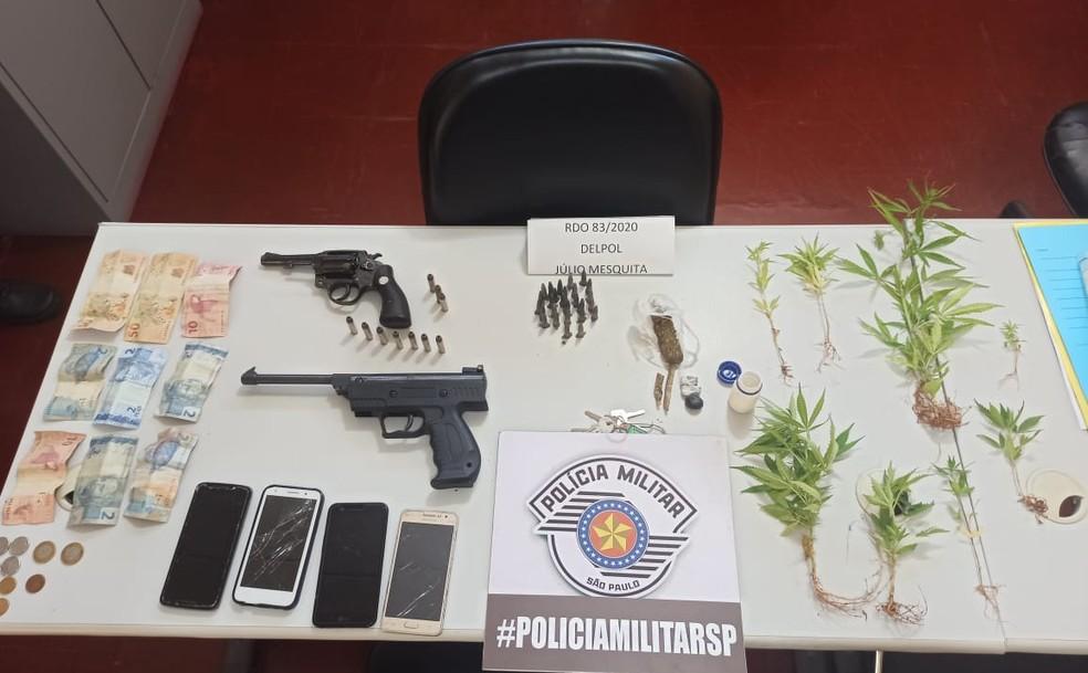 Polícia apreendeu oito pés de maconha, além de porções da droga, armas e munições em Júlio Mesquita — Foto: Polícia Militar/Divulgação