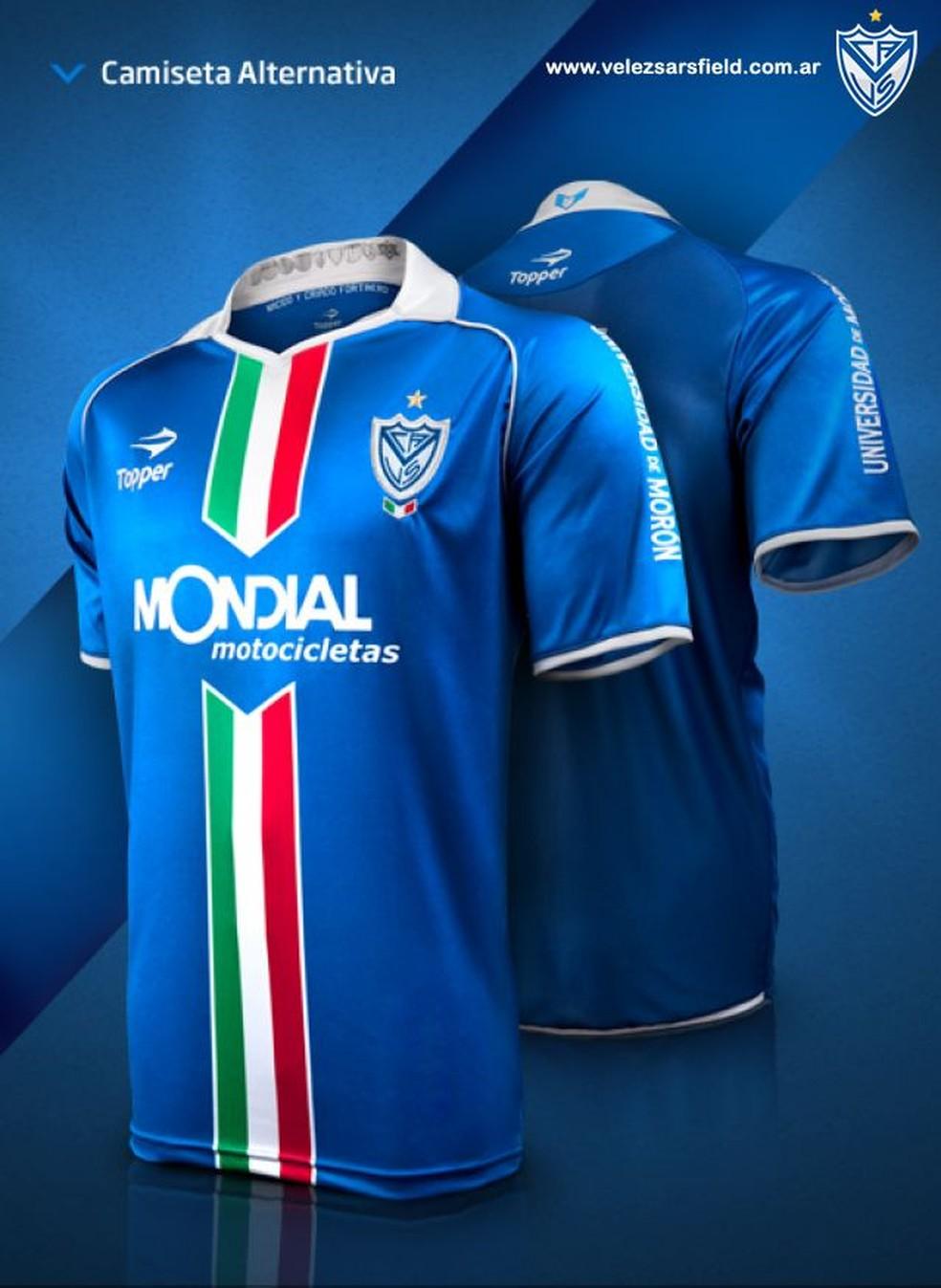 Nova terceira camisa é similar a do Velez Sarsfield de 2012, com alguns detalhes diferentes (Foto: Reprodução)