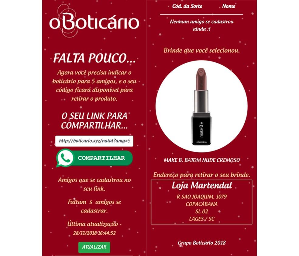 Golpe sofisticado usava a marca de cosméticos O Boticário — Foto: Reprodução/TechTudo