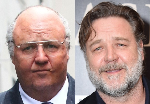 Russell Crowe como Roger Ailes e ao natural (Foto: BackGrid e Getty Images)