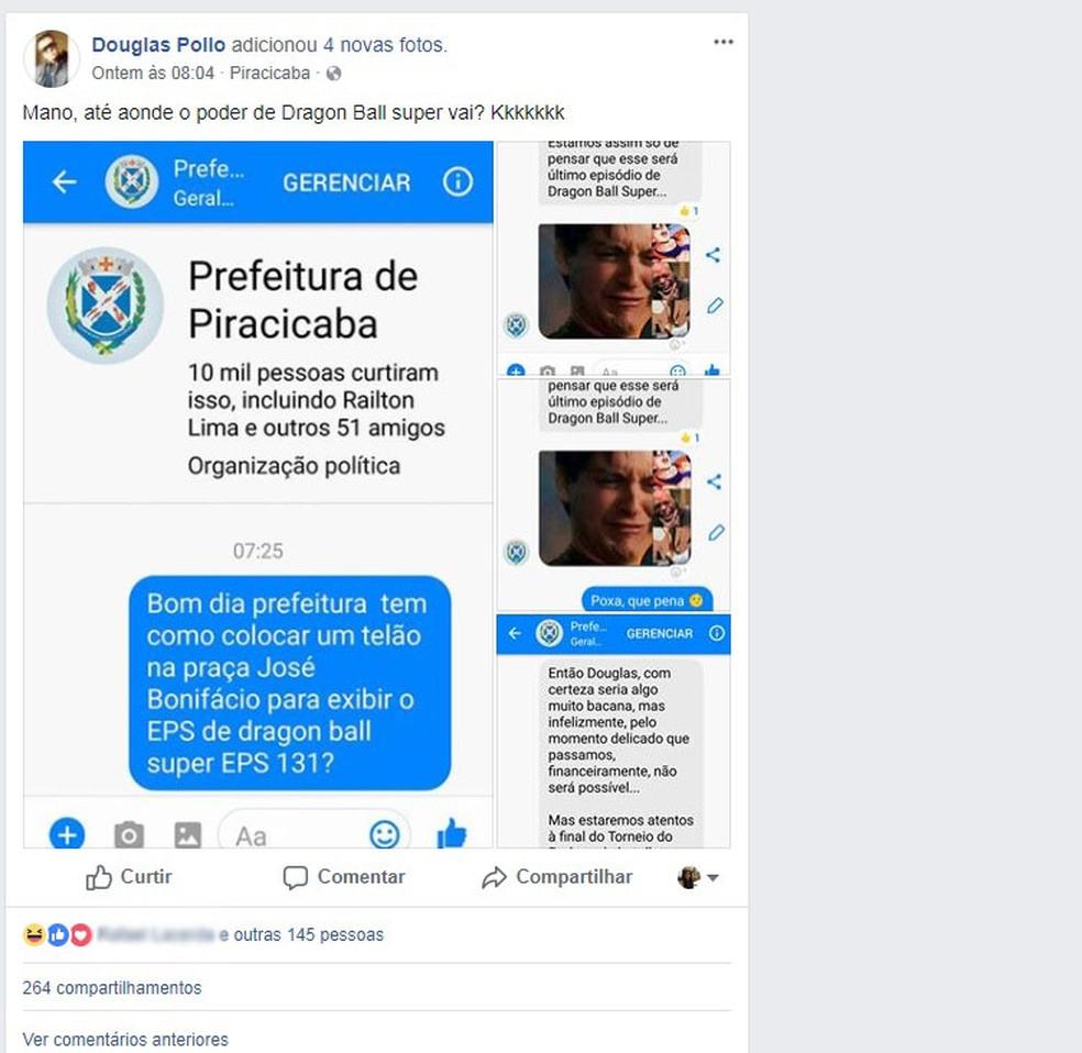 Publicação começou a ser compartilhada nas redes sociais em Piracicaba (Foto: Reprodução/Facebook/Douglas Pollo)