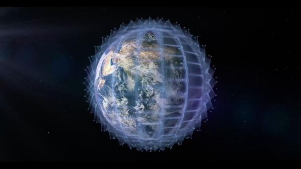 A rede ficará a 1.200 km acima da Terra. Satélites serão lançados nesta quarta-feira — Foto: Oneweb