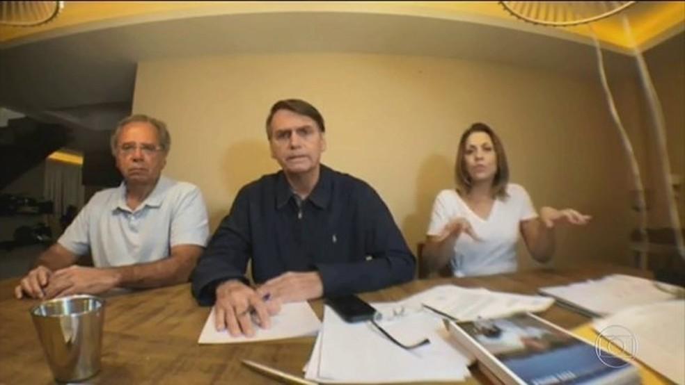 Opresidente eleito Jair Bolsonaro em pronunciamento pelas redes sociais após divulgação do resultado da eleição — Foto: Reprodução/JN