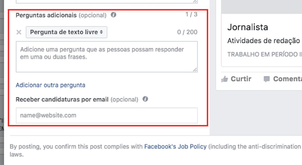 Adicione perguntas e um e-mail para contato no anúncio de uma vaga de emprego do Facebook (Foto: Reprodução/Marvin Costa)