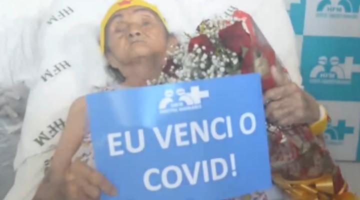 Idosa de 103 anos se recupera da Covid-19 no PA e sai do hospital com acessórios da 'Mulher Maravilha'; vídeo