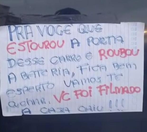 Moradora usa bilhete em carro para ameaçar ladrão em SP: 'A casa caiu'