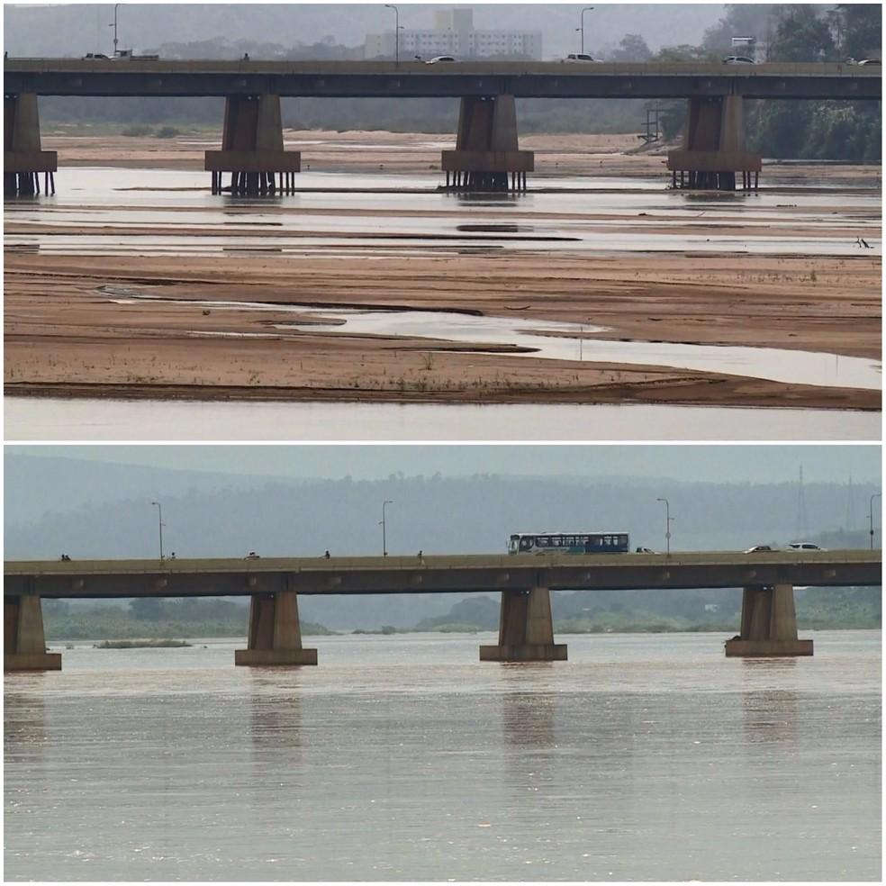 Rio Doce antes e depois da chuva em Colatina (Foto: Reprodução/ TV Gazeta)