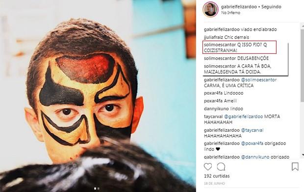 Comentários de Solimões na foto do filho, Gabriel (Foto: Reprodução/ Instagram)