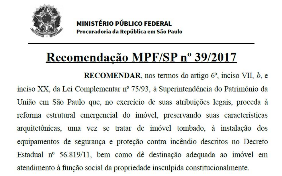 Documento do MPF recomendava reforma estrutural do prédio (Foto: Reprodução)