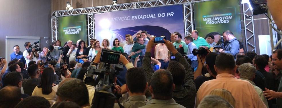 PR oficializa Wellington Fagundes (PR) como candidato a governador de MT (Foto: Cristina Mayumi/TV Centro América)