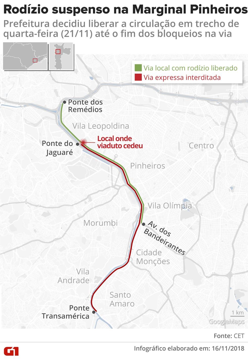 Mapa de trecho da Marginal Pinheiros com rodízio suspenso após viaduto ceder — Foto: Igor Estrella/G1