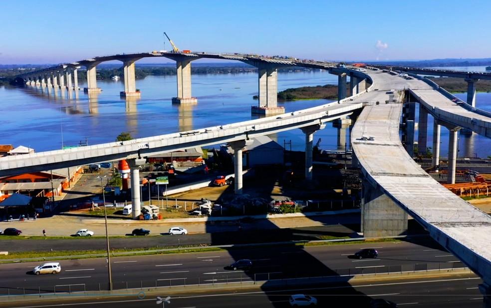 Previsão é liberar a obra da nova ponte do Guaíba em novembro  — Foto: Divulgação/Dnit