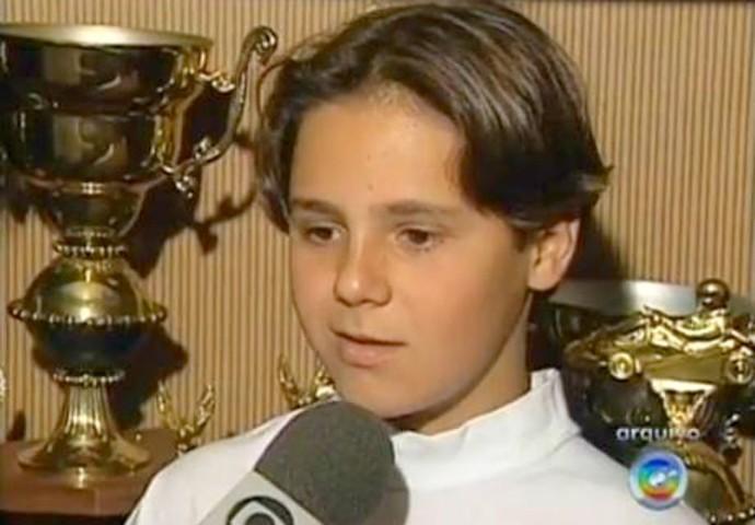 Felipe Massa, criança, em entrevista, em Botucatu (Foto: Reprodução / TV TEM)