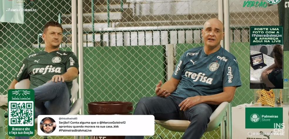 Marcos em live do Palmeiras — Foto: Reprodução / YouTube