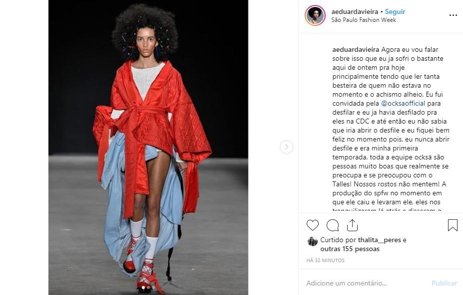 Modelo Eduarda Vieira faz desabafo (Foto: Reprodução Instagram)