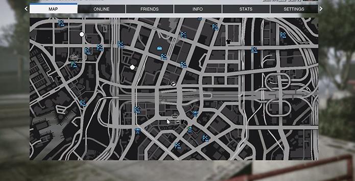 Busque missões, jogadores e estabelecimentos no mapa do game (Foto: Reprodução/YouTube)