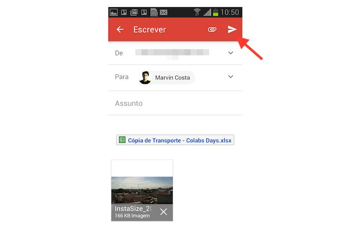 Enviando uma mensagem com anexos no aplicativo do Gmail para Android (Foto: Reprodução/Marvin Costa)