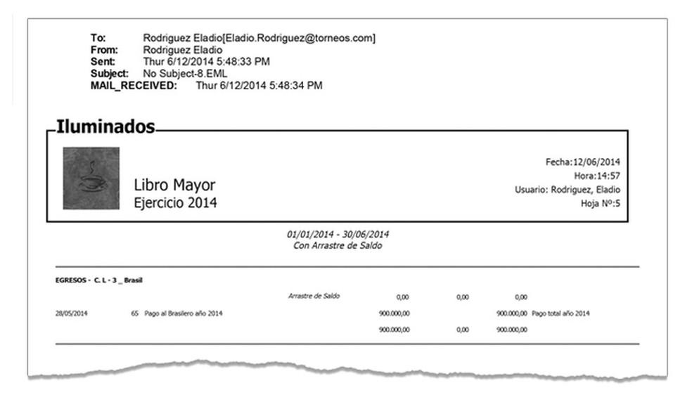 """Planilha da Torneos: registro de pagamento a US$ 900 mil a """"Brasilero"""" (Foto: Reprodução)"""