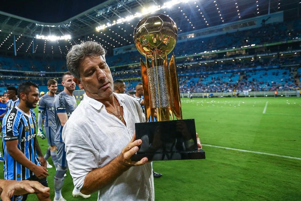 Renato valorizou Recopa Gaúcha e exigiu manter o ritmo alto durante a goleada — Foto: Lucas Uebel/Divulgação Grêmio