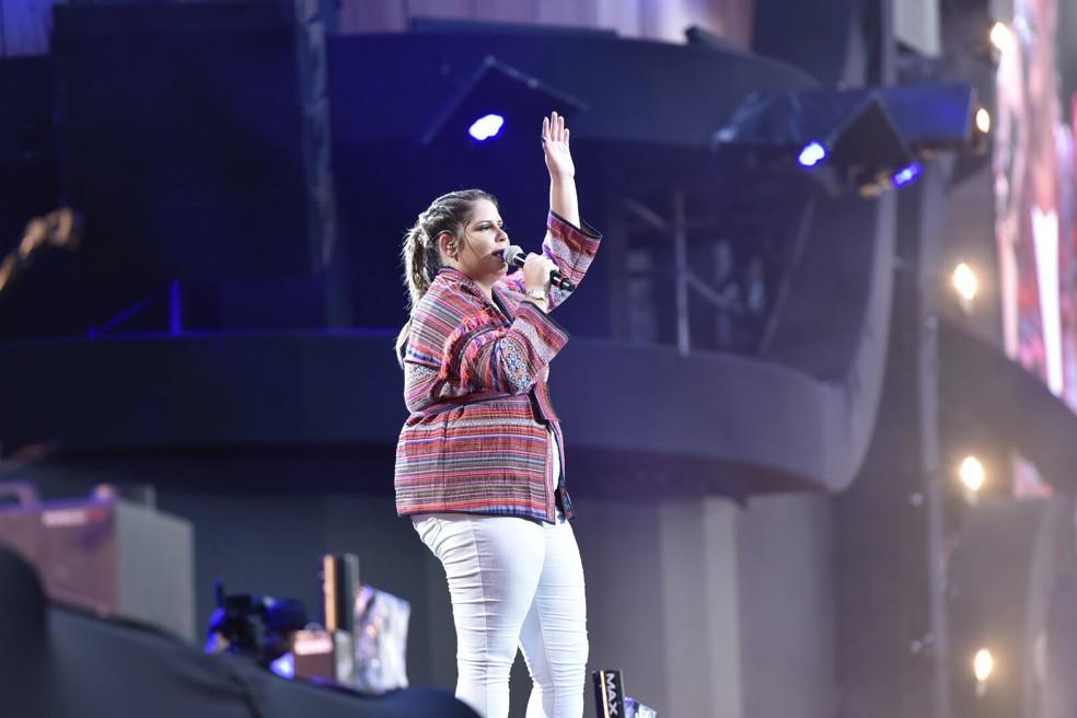Marília Mendonça no palco do Festival de Verão Salvador (Foto: Elias Dantas/Ag. Haack)