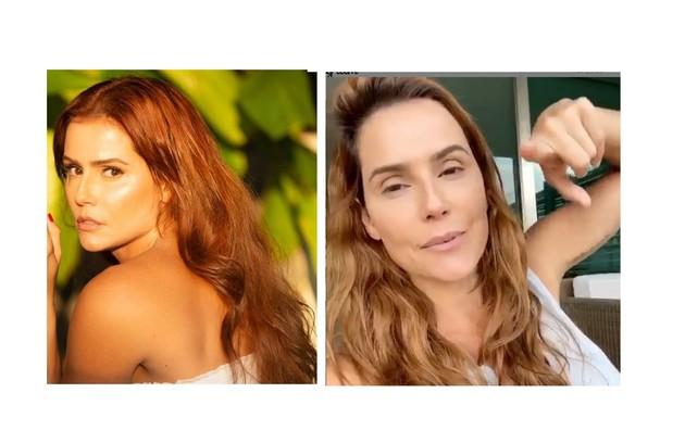 Debora Secco, que está ruiva para 'Salve-se quem puder', tem aparecido com a raiz mais escura (Foto: Reprodução)