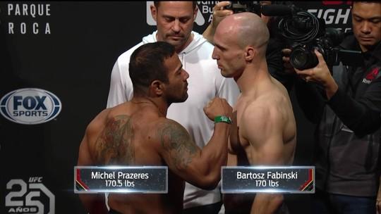 Michel Trator e Bartosz Fabinski passam pela pesagem do UFC Buenos Aires