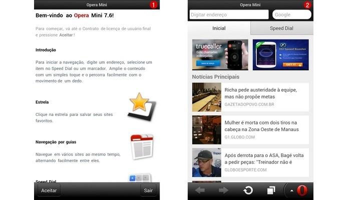 Telas iniciais do Opera Mini para Android (Foto: Reprodução/ Raquel Freire)