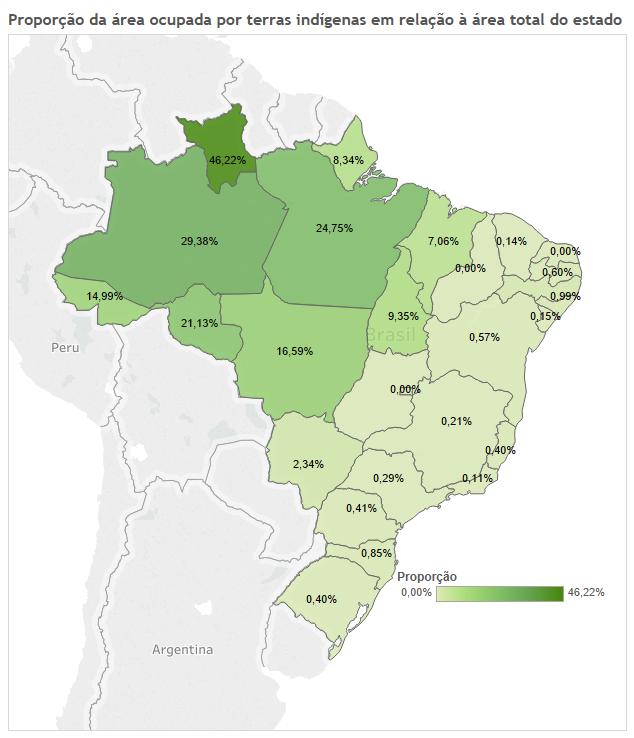 Mapa com proporção de terras indígenas