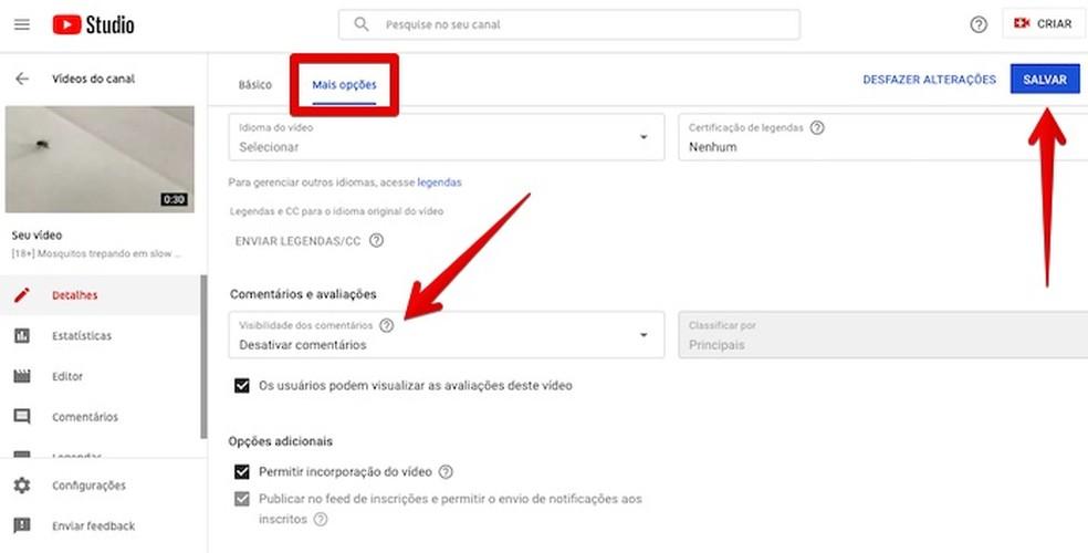 Desativando comentários em vídeo existente — Foto: Reprodução/Helito Beggiora