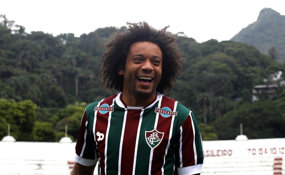 Marcelo, do Real Madrid, em visita ao Fluminense em 2016 — Foto: Nelson Perez / Fluminense FC