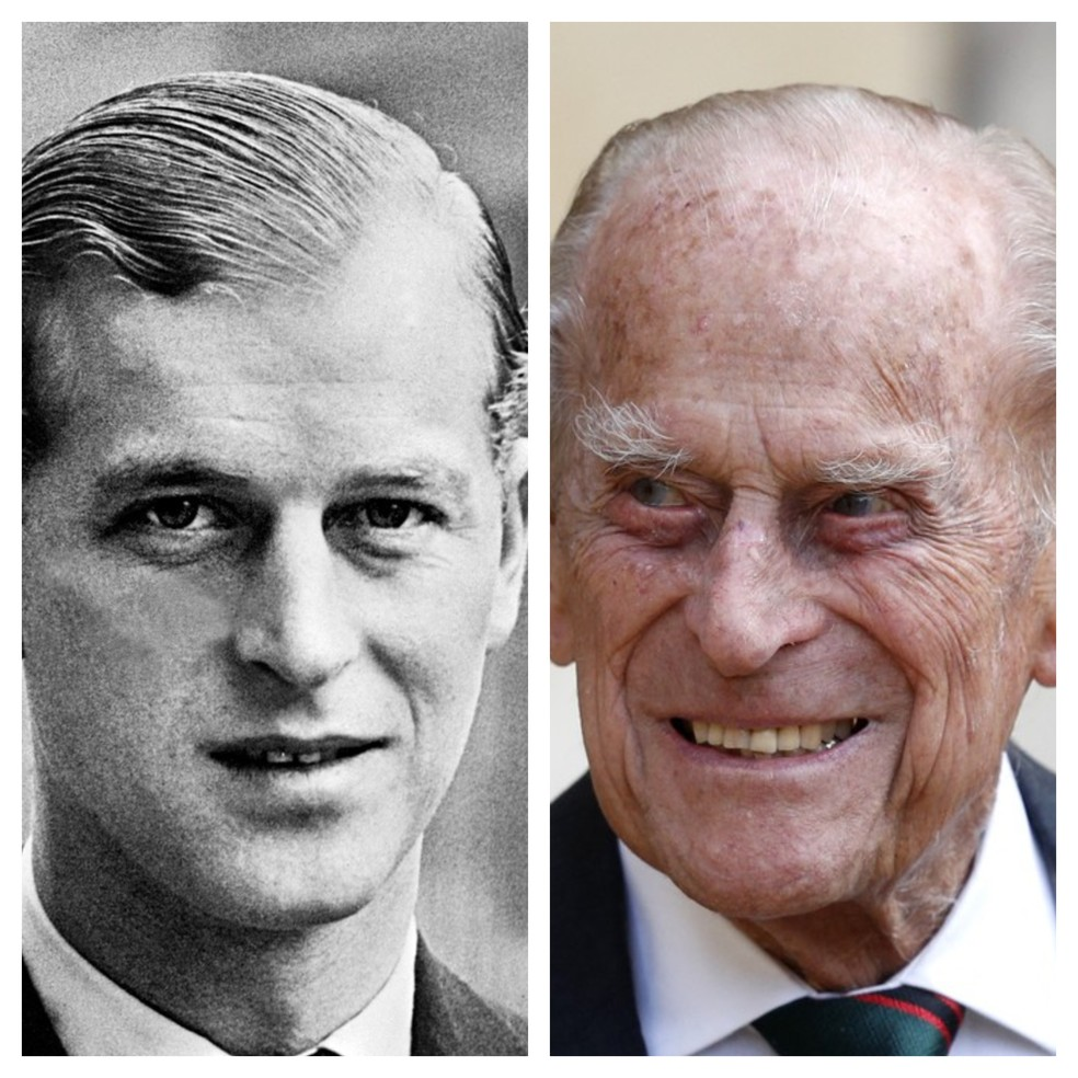 Montagem mostra o príncipe Philip ainda jovem e já idoso — Foto: G1