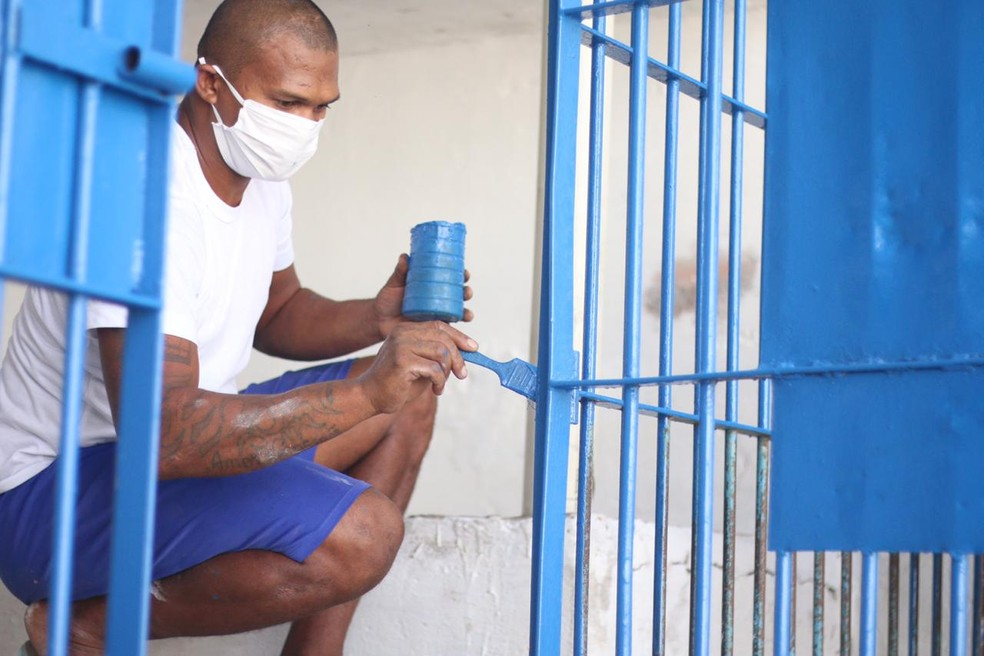 Penitenciária Irmão Guido tem pavilhões reformados exclusivamente com trabalho de detentos  — Foto: Divulgação/Sejus