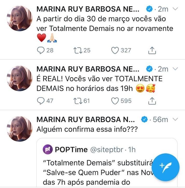 Postagens de Marina Ruy Barbosa (Foto: reprodução/ Twitter)