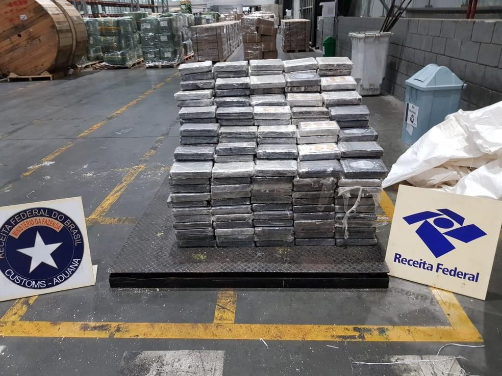 Cocaína apreendida no Porto de Paranaguá nesta quarta-feira (11) — Foto: Receita Federal/Divulgação