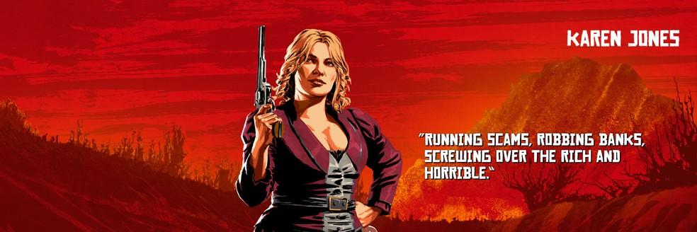 Karen Jones, de Red Dead Redemption 2 — Foto: Divulgação/Rockstar