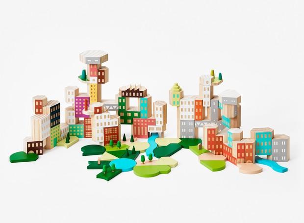 Uma cidade para chamar de sua: blocos de madeira dão origem à vizinhança dos sonhos  (Foto: Areaware/Reprodução)