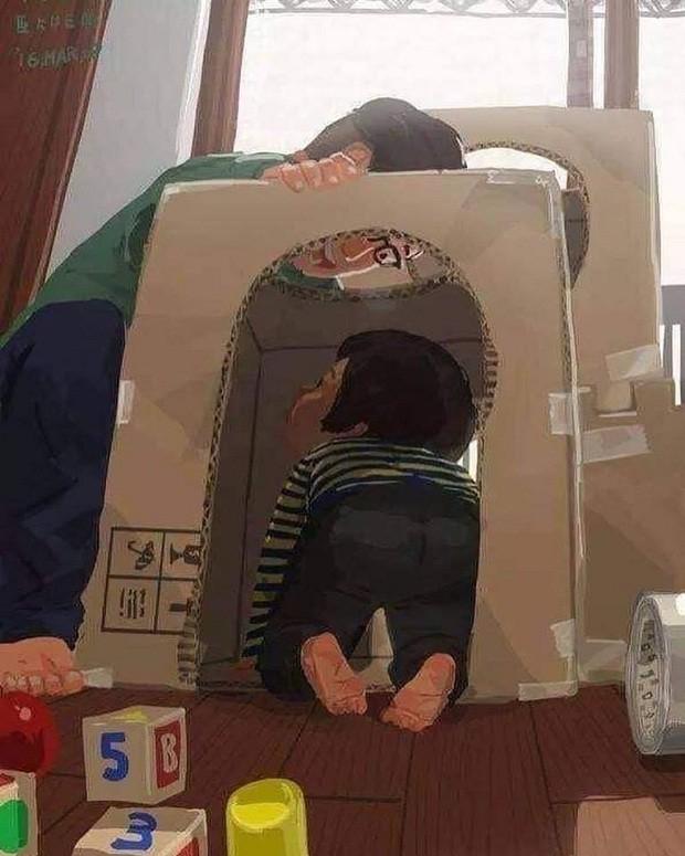 Pai e filho brincam em castelo feito de caixas de papelão (Foto: Reprodução/Facebook)