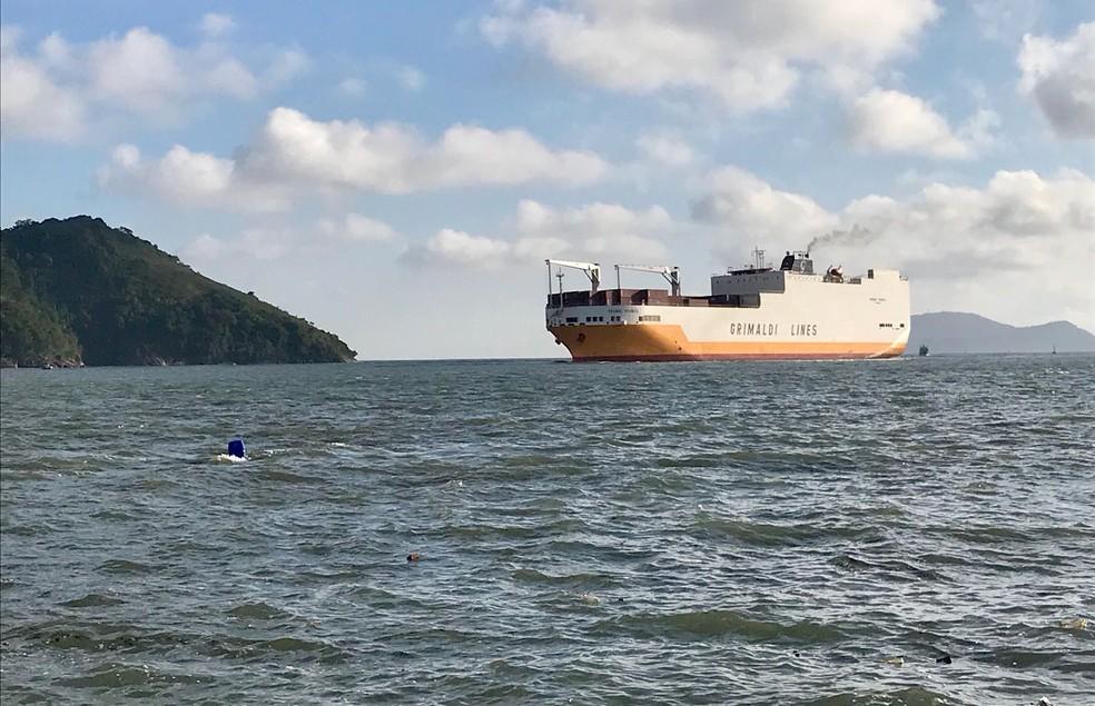 Navio Grande Francia não tinha previsão para atracar, mas foi liberado após incidente. (Foto: José Claudio Pimentel/G1)
