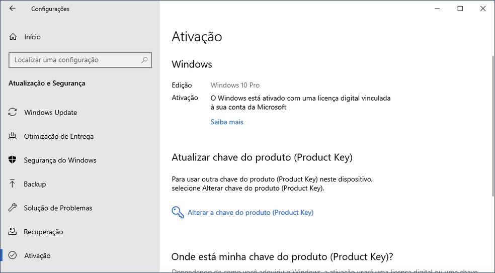 É possível acessar a licença de uso do Windows 10 no meu de configurações — Foto: Reprodução