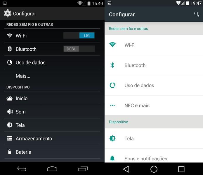 Menu de configuração do KitKat e do Android L (Foto: Reprodução)