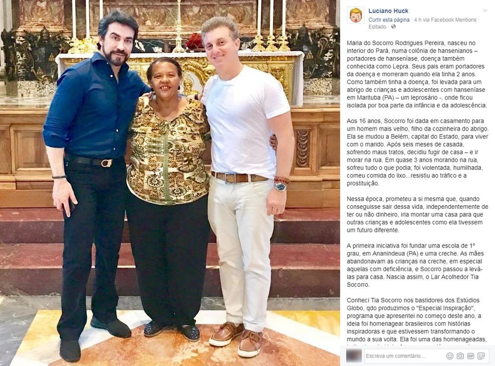 Apresentador Luciano Huck se manifestou em suas redes sociais lamentando a morte de 'Tia Socorro'. (Foto: Reprodução)